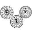 clock faces with ornamental decoration vector image