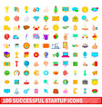 100 successful startup icons set cartoon style vector image vector image