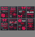 black friday sale banners with ribbon bows set vector image vector image