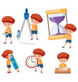 boys with math tools vector image