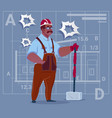 cartoon african american builder holding big vector image vector image