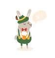 Cartoon funny rabbit with beer and germany costume