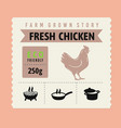 chicken meat label with icon and text vector image vector image