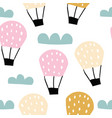 childish seamless pattern with hot air ballon vector image