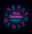 christmas and new year neon vector image vector image
