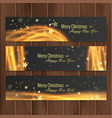 christmas banners set on wood substrate vector image vector image