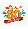 colorful happy birthday number 80 flat line design vector image vector image