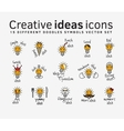 Creative ideas color flat icons symbols set vector image