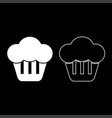 cupcake icon set white color flat style simple vector image