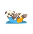 cute panda bear doing sit up on a mat sportive vector image