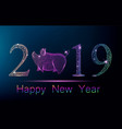 cute polygonal pig on place of zero in number 2019 vector image vector image