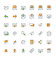 email flat design icon set envelope link download vector image