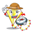 explorer cute kite flying the on mascot vector image