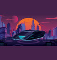 flying car in futuristic city vector image
