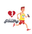 for our healthy man jogging red heart background v vector image