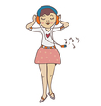 Girl listening to music funny cartoon vector image