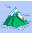 Green mountain with snowy peak and clouds vector image vector image