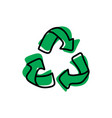 green recycle sketch hand drawn vector image vector image