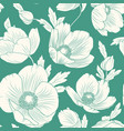 hellebore poppy flowers seamless pattern teal blue vector image vector image