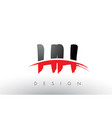 hh h h brush logo letters with red and black vector image vector image