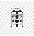 hotel concept linear icon isolated on transparent vector image vector image