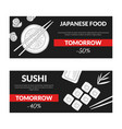 japanese food sushi horizontal sale banners set vector image