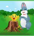 kolobok gingerbread man and bunny vector image vector image