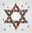 large group of people in the star of david shape vector image