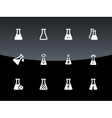 Medical lab flask icons on black background vector image