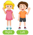 opposite words with right hand and left hand vector image vector image