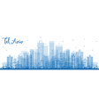 outline tel aviv israel skyline with blue vector image vector image