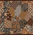 paisley and geometric motifs fabric patchwork vector image vector image