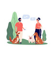 pet owners people walking pets man and woman vector image