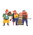 pirates standing gang three bearded and armed vector image