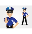 policeman with sunglasses showing stop gesture vector image vector image