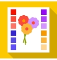 Printed sample with a palette of colors icon vector image vector image