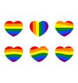 rainbow heart icons set lgbt pride heart symbols vector image