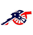 rebel flag with civil war cannon silhouette vector image vector image