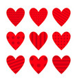 red heart icon set cute polka dot line pattern vector image vector image