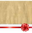 Retro Ripped Paper Banner With Red Bow vector image vector image