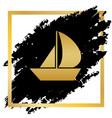 sail boat sign golden icon at black spot vector image vector image
