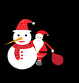 santa claus and snowman christmas card vector image vector image