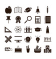 school education learn supply stationery icons set vector image vector image