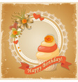 Scrapbooking birthday card with cupcake vector image vector image