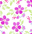 Seamless Patterns with watercolor flowers vector image