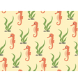 Seamless sea pattern Orange seahorse and green vector image vector image