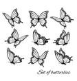 set butterflies flying in different vector image vector image
