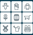 set of 9 plant icons includes hang lamp bucket vector image vector image