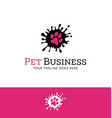 splatter paw print logo vector image vector image