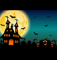 spooky halloween background with pumpkins and vector image